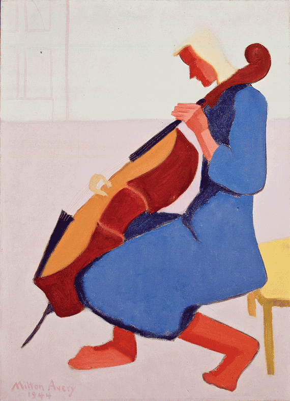 Fig. 7: Milton Avery (1893–1965) Cello Player in Blue, 1944 Oil on canvas, 36 x 26 inches Permanent Collection of the Neuberger Museum of Art, Purchase College, State University of New York;  Gift of Roy R. Neuberger