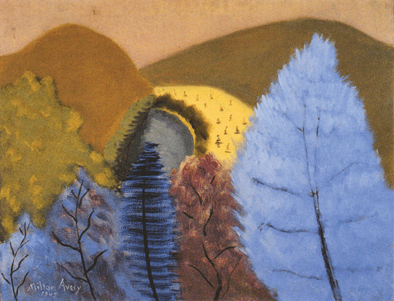 Fig. 4: Milton Avery (1893–1965) Blue Trees, 1945 Oil on canvas, 28 x 36 inches Permanent Collection of the Neuberger Museum of Art, Purchase College, State University of New York;  Gift of Roy R. Neuberger