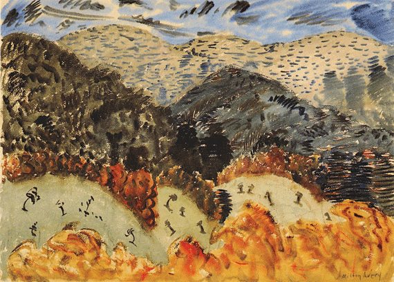 Fig. 9: Milton Avery (1893–1965) Hills and Mountains, ca. 1944 Watercolor on paper, 22 x 30 inches Permanent Collection of the Neuberger Museum of Art, Purchase College, State University of New York;  Gift of Roy R. Neuberger