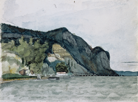 Fig. 1: Edward Hopper (1882–1967), Hook Mountain, Nyack, ca. 1899. Watercolor and graphite pencil on paper, Sheet: 5-1?16 x 6-7/8 inches. Whitney Museum of American Art, New York; Josephine N. Hopper Bequest (70.1558.55). Digital image © Whitney Museum of American Art © Heirs of Josephine N. Hopper, licensed by the Whitney Museum of American Art, New York.