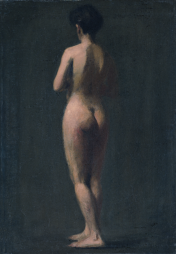 Fig. 6: Edward Hopper (1882–1967), Standing Nude, 1902–1904. Oil on canvas, 22-3?16 x 15-3?16 inches. Whitney Museum of American Art, New York; Josephine N. Hopper Bequest (70.1269). Photography by Robert E. Mates. © Heirs of Josephine N. Hopper, licensed by the Whitney Museum of American Art, New York.