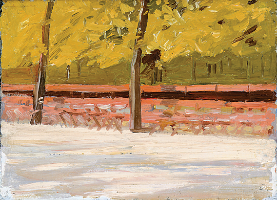 Fig. 9: Edward Hopper (1882–1967), Park Benches and Trees, 1907. Oil on wood, 9-3/4 x 13 inches. Whitney Museum of American Art, New York; Josephine N. Hopper Bequest (70.1300). Photography by Sheldan C. Collins. © Heirs of Josephine N. Hopper, licensed by the Whitney Museum of American Art, New York.