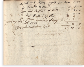Joseph Meacham's signature (on page 50) in Jessie Patchen's account book.